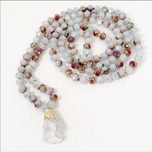 Technicolor Raw Quartz Knotted Necklace